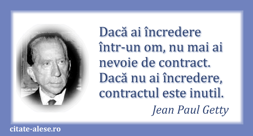 Jean Paul Getty, citat despre încredere